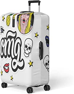 Semtomn Luggage Cover Omg Creative and Patches Surprised Blond Woman Skulls Stars Lips Youth for You Travel Suitcase Cover Protector Baggage Case Fits 22-24 Inch