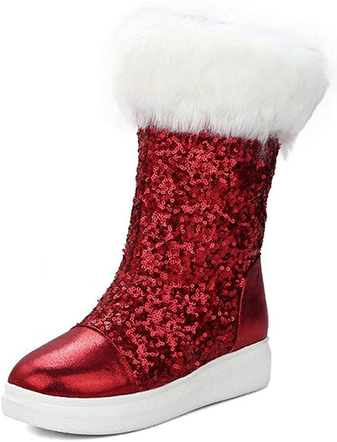 Unm Women's Warm Glitter Sequins Thick Sole Faux Fur Lined Round Toe Flat Platform Pull On Mid Calf Snow Boots