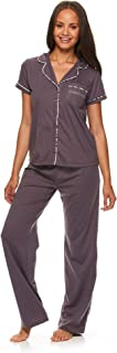 bebe Womens Button Down Short Sleeve Shirt and Pajama Pants Lounge Sleep Set