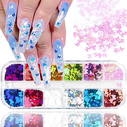 Nail Art Stickers Decals Nail Supplies Holographic Nail Polish Nail Art Decorations Accessories For Women Girls Shining Lovely Hearts Butterfly Sequins 12 Grids/Set (Butterfly)