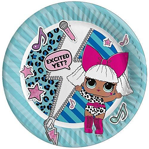 Ciao 23172 decoratieve papieren borden Lol Surprise Ø 19,5 diameter 8 stuks