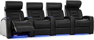 Octane Seating Flex HR Home Theater Seats - Black Top Grain Leather - Power Recline - Row of 4