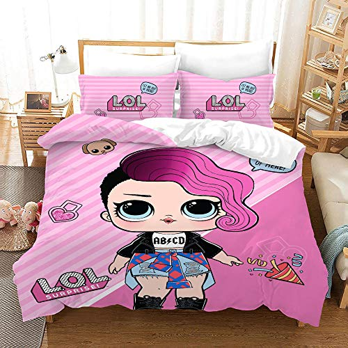 Duvet Cover Set King Size 240x220 cm with 2 Pillowcases 50x75 cm Bedding set by Soft Microfiber with Zipper Lol Printing Duvet Cover set for Adult and children bed