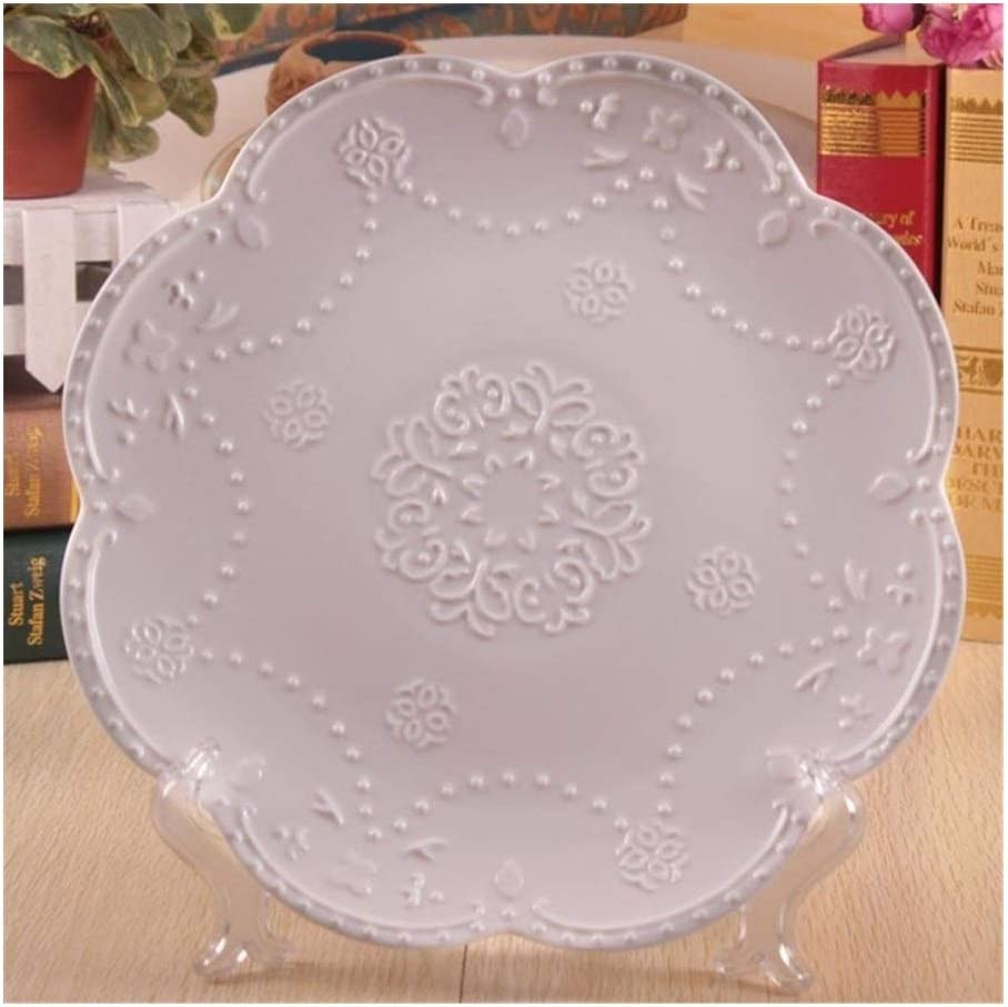JXXXJS Concise White Embossed Ceramic Cake Dishes Dinner Plates Albuquerque Fees free!! Mall