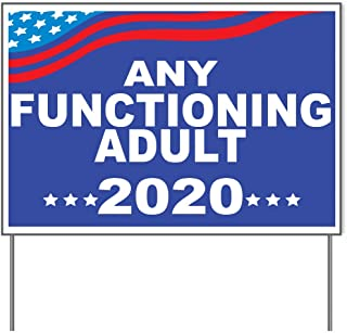 M&R Any Functioning Adult 2020 Blue Background 18x24 Yard Sign