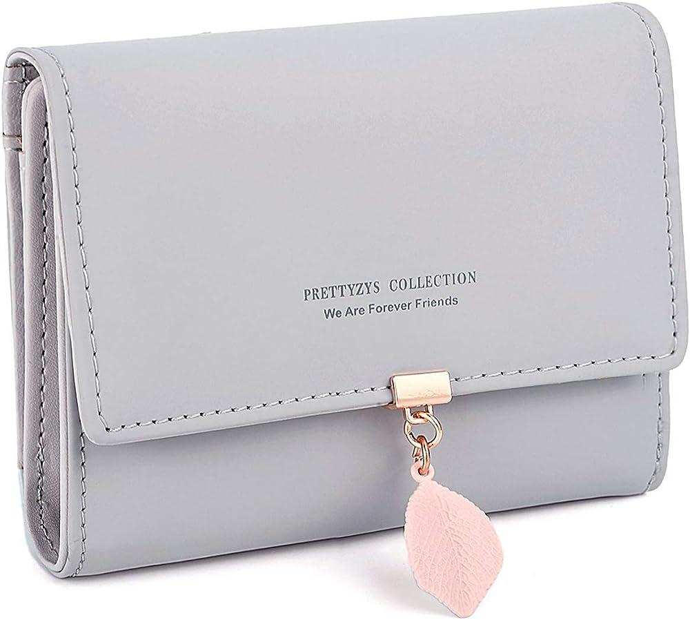 Charltu portafoglio da donna porta carte di credito in similpelle grigio