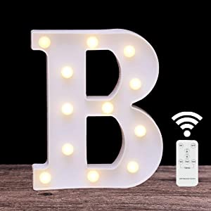 LED Marquee Letter Lights 26 Alphabet Light Up Name Sign Remote Control Letter Lamp for Wedding Birthday Party Battery Powered Christmas Lamp Home Bar Decoration(Letter B-Remote Control)