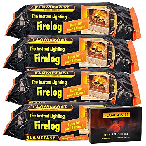 Flamefast 4 x Smokeless Firelogs Instant Lighting, Open Fire, Garden Chimineas 2hrs Burn, Environmentally Friendly