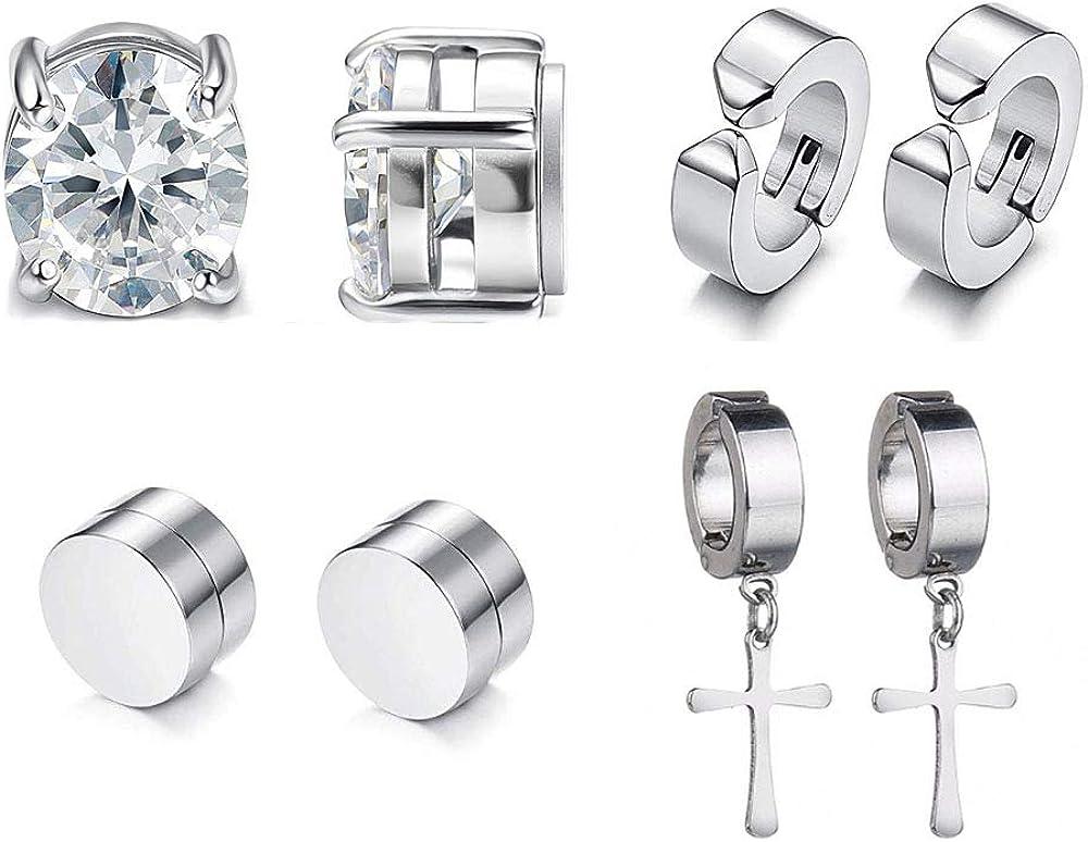 4 Pairs No Piercing Earrings,Magnetic,CZ Stud Earrings,Clip On Cross Dangle Earrings for Non Pierced Ears