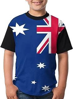Jie Shikang Australia Flag Youth Kids Sports Slim Short Sleeve T-Shirt Top Tee for Boys