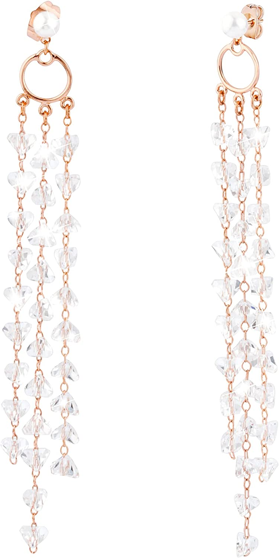 Cecillia Rhinestone Tassel Drop Earrings 14K Gold Plated Sparkle CZ Earrings Dangle Crystal Long Tassel Earrings for Women Girls Punk Earrings Fashion Trending Jewelry Gifts