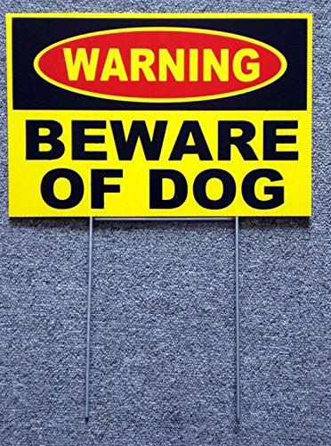 GVGs Shop 1 Set Classical Popular Warning Beware Dog Yard Sign Surveillance Coroplast Security Lawn Size 8
