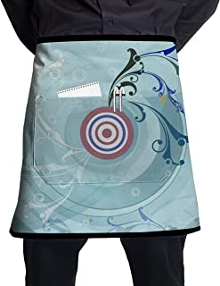 Jaylon Pocket Half Length Short Waist Apron Circle Target Light Cooking Apron with Pockets Home Kitchen Cooking Pinafore