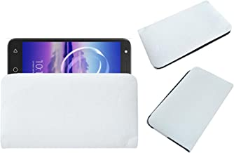 Acm Rich Soft Handpouch Carry Case Compatible with Alcatel U5 Hd Mobile Leather Cover White