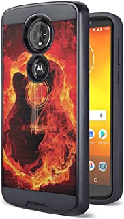 Moriko Case Compatible with Moto G7 Power, Moto G7 Supra [Drop Protection Fusion Dual Layer Slick Armor Case Black] for Motorola Moto G7 Power - (Fire Flames Guitar)