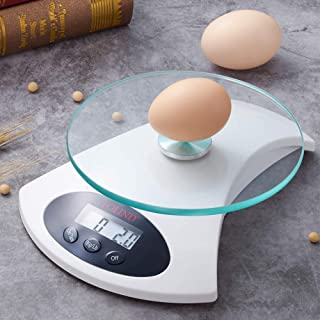 Digital Kitchen Scale, FOLIND Electronic Food Scale with Tempered Glass and LCD Display, Cooking Scale with Auto-off Tare Function, Easy to Clean, 11lb/5kg (Batteries Included)