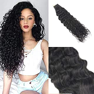 You Shine Seamless Remy Hair Extensions 18Inch Natural Wavy 50g Per Package Double Sided Tape Hair Extensions Natural Black Color Human Hair Tape Extensions