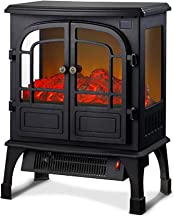 Estufa Eléctrica Chimenea Calefacción Estufa Eléctrica Infrarroja 3D con Efecto De Llama Realista Negro
