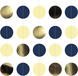 NICROLANDEE Navy Blue Dots Paper Garland Metallic Gold String Hanging Party Garland Backdrop for Nautical Bachelorette Wed...