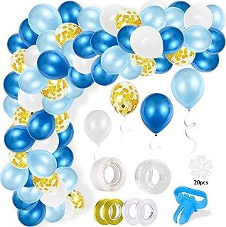 110Pcs Kit de Guirnaldas de Globos, Arco Globos de Látex Azul Blanco,Globos de Confeti con 16 Pies Cinta,1 Herramienta de Amarre y 100 Puntos Pegamento para la Decoración de Fiesta Boda Cumpleaños