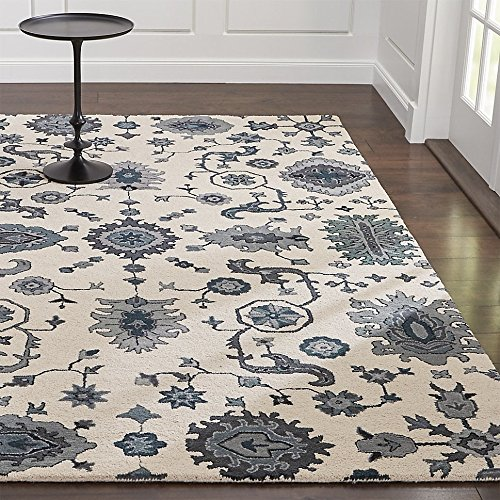 Crate and Barrel Juno White Traditional Persian Handmade 100% Wool Rugs & Carpets (9'x12')