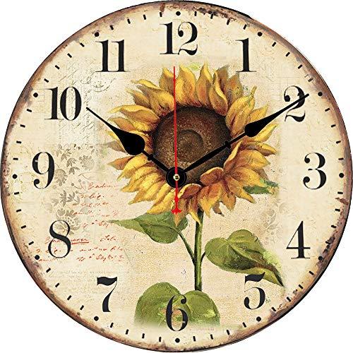 BERYART Reloj de pared, funciona con pilas, silencioso, sin tictac, vintage, relojes de pared, redondos, para el hogar, oficina, aula, escuela, cocina, sala de estar/dormitorio, Girasol, 14 Pulgadas