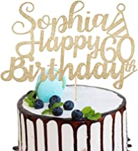 Personalised Happy Birthday Cake Topper All Ages Birthday Party Decoration. Custom Any Name and Age 16th, 18th, 21st, 30th, 40th, 50th, 60th, 80th | Multipul Colours 400 Gram Double Sided Glitter Card