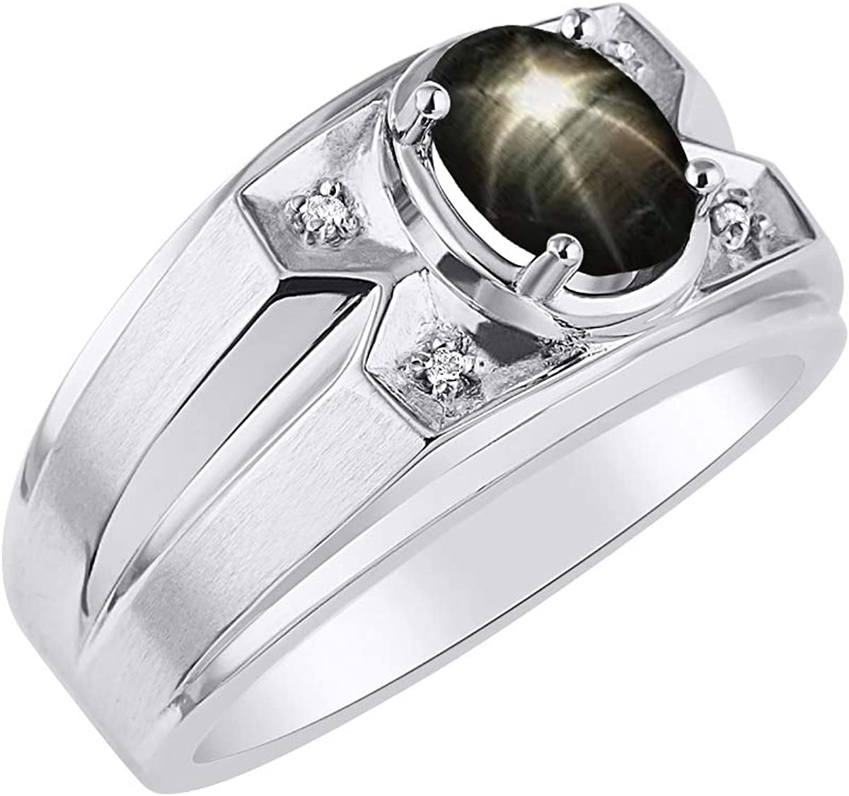 RYLOS Mens Ring with Oval Shape Gemstone & Genuine Sparkling Diamond Ring in 14K White Gold - 8X6MM Color Stone Black Star Sapphire