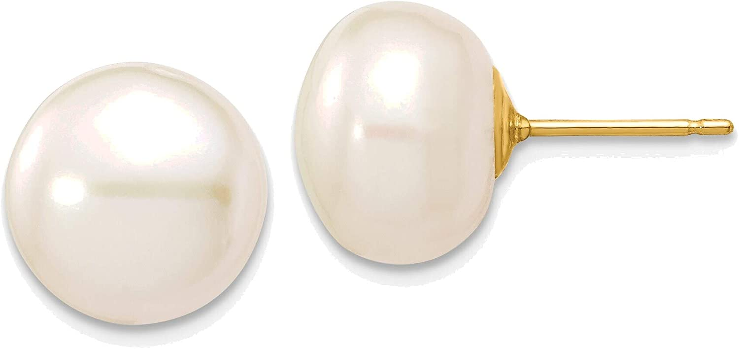 10-11mm White Button Freshwater Cultured Pearl Stud Post Earrings in 14K Yellow Gold