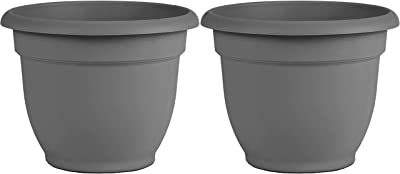 "Bloem AP08908 Ariana Self Watering Planter 8"", Charcoal Gray, Set of 2"