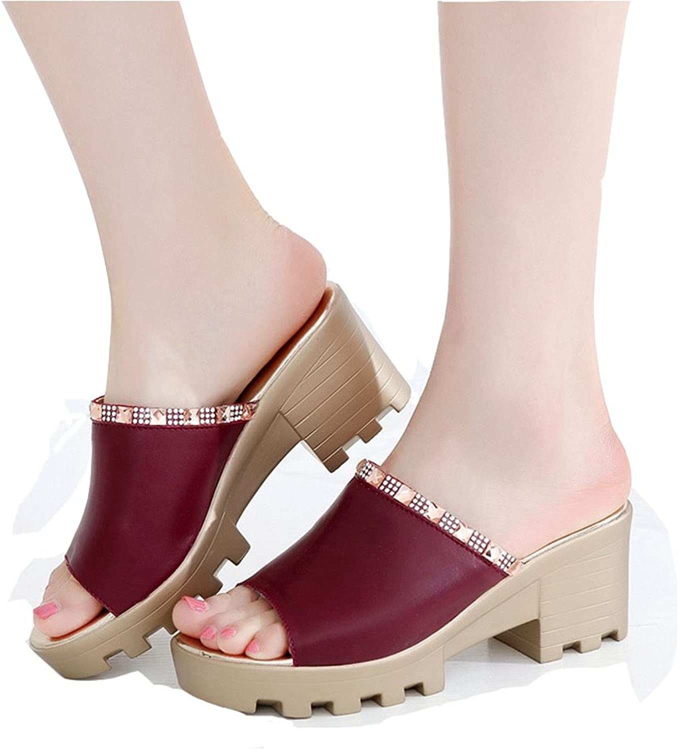 T-JULY Women Ladies Wedge Platform Heel Sandals Leather Slippers Fashion Fish Mouth Water Drill Sandals