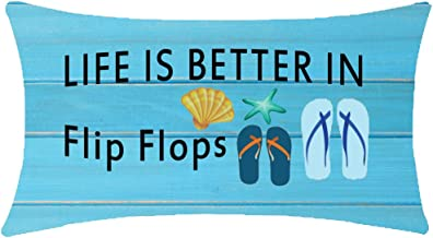 ITFRO Nice Gift to Sister Family Friends Life is Better in Flip Flops Wood Texture Lumbar Waist Cotton Linen Throw Pillow Case Cushion Cover Couch Sofa Decorative Oblong 12x20 inches