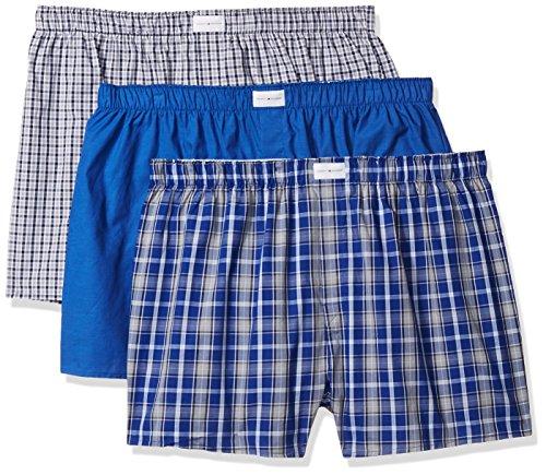 Tommy Hilfiger mens Multipack Cotton Classics Woven Boxer underwear, Red Plaid/Tommy Hilfiger Logo Print/Blue Plaid, Large US