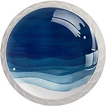ATOMO 4 Stks Kast Knoppen voor Lade Dressoir Keuken Kasten Garderobe Badkamer Aquarel Blauwe Golven