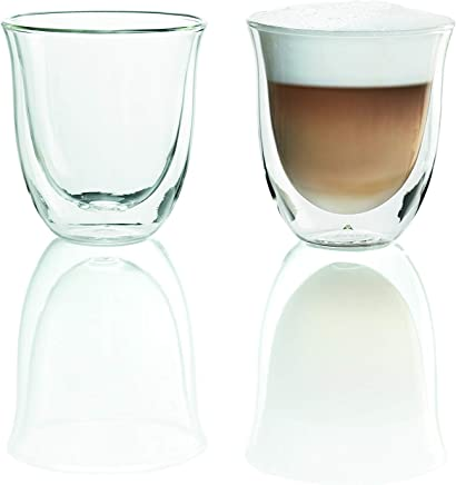 De'Longhi Double Walled Thermo Cappuccino Glasses 190mL, 6 fl oz, Set of 2