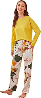 Shein Women's Casual Long Sleeve T-Shirt with Floral Print Pants Pajama Set