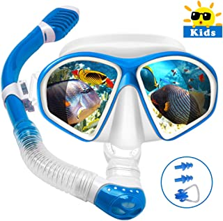 Powsure Kids Snorkel Set, Dry Top Snorkel with Swim Mask, Anti-Leak Snorkeling Package of Anti-Fog Tempered Glass Diving Goggles for Children, Boys, Girls,Youth,Junior Child