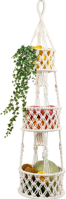 AerWo 3 Tier Hanging Fruit Basket for Kitchen, Macrame Fruit Hammock Hanging Basket with S Hook for Fruit and Vegetable Storage, Handmade Fruit Holder boho wall basket kitchen decor 46 Inches