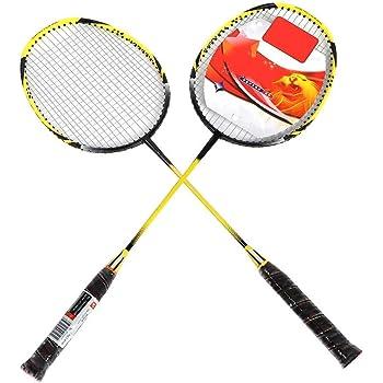 V GEBY Steel Alloy Handle Badminton Racket Set Outdoor Training Racquets with Bag