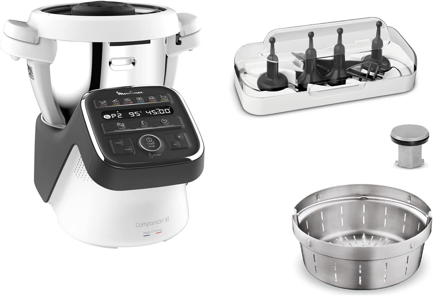 Moulinex Companion XL - Robot de cocina (4,5 L, 12 programas automáticos, preparación de sopas, carne, gaspacho, robot de cocina con libro recetas)