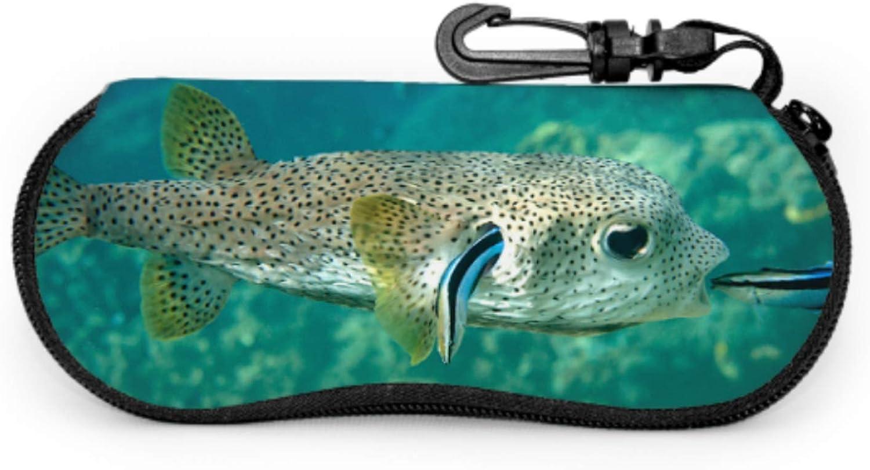 Spiny Fish And Dolphins Kid Sunglasses Case Eyeglass Case Girls Light Portable Neoprene Zipper Soft Case Kid Sunglasses Case
