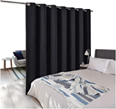 NICETOWN Room Divider Curtain Screen Partitions, Blackout Wide Width Window Treatment, Blackout Curtain Panel for Glass Window/Sliding Door/Patio (1 Panel, 7ft Tall x 8.3ft Wide, Black)