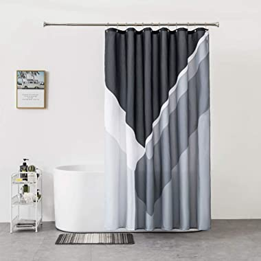 Black Shower-Curtain Grey Water-Repellent Gray-Modern-Bathroom - Black White Grey Geometric Shower Curtain 72×72 Inch