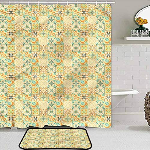 ScottDecor Moroccan Bathroom Rugs and mats Sets with Shower Curtain Italian Style Retro car Carpet 36W x 72L/20W x 32L Inch