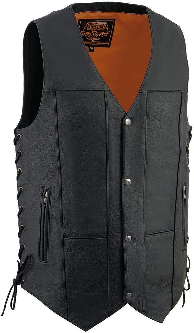 Milwaukee Leather MLM3541 Men's '10-Pocket' Black Leather Vest with Cool-Tec Technology - 3X-Large