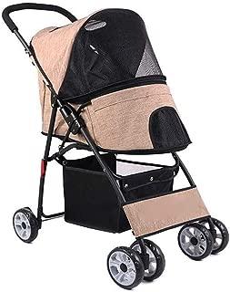 Pet stroller Pet Stroller with Rain Cover, Outdoor Travel Folding Pet Stroller, Pet Accessories, Pet Strollers for Small Dogs,pet Strollers,pet Strollers for Medium Dogs (Color : Khaki)
