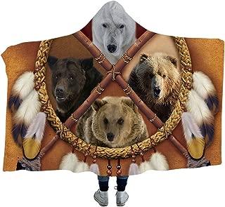 Sleepwish Bear Dream Catcher Blanket Animal Print Hooded Blanket Gold Brown Tribal Sherpa Fleece Blanket (Adults 60