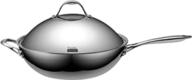 """Cooks Standard Stainless Steel Multi-Ply Clad Wok, 13"""" with High Dome lid, Silver"""