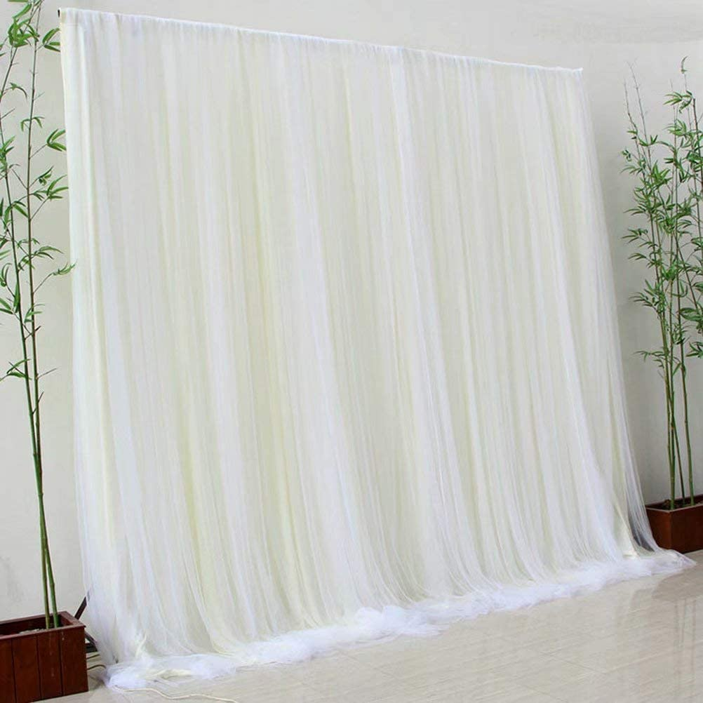 Atongham Ivory Tulle Chiffon Backdrop for New Year Ceremony Backdrops Curtains Xmas Ceremony Backdrop Photo Booth Background Photography