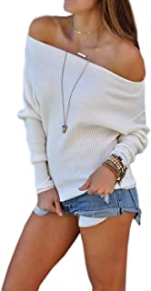 Mansy Women's Casual Off Shoulder Knit Jumper Long Sleeve Pullover Solid Sweater Tops